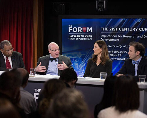Panelists Otis Brawley, Jeffrey Drazen, Pamela Tenaerts, and Aaron Kesselheim probed the potential consequences of the new 21st Century Cures Act, which earmarks fresh funds for medical research while easing regulations on drugs and devices.