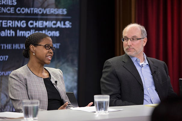 Harvard Chan School professors Tamarra James-Todd (left) and Russ Hauser joined a panel of experts to discuss the unsettling pervasiveness of internationally banned, hormone-disrupting chemicals in everyday objects in the U.S.