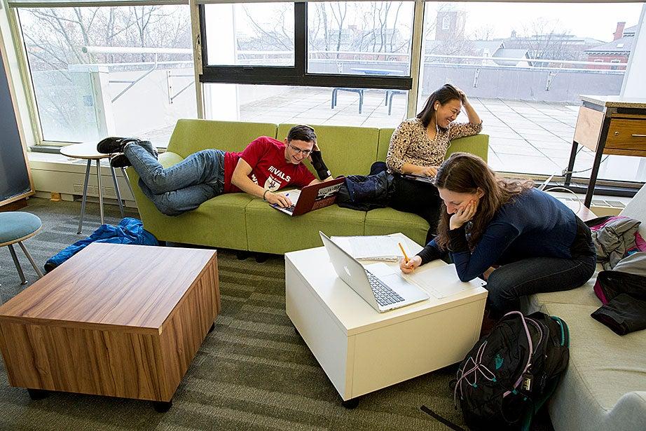 Freshmen Shelly Tsirulik (from left), May Wang, and Ariella Kahan do homework together.