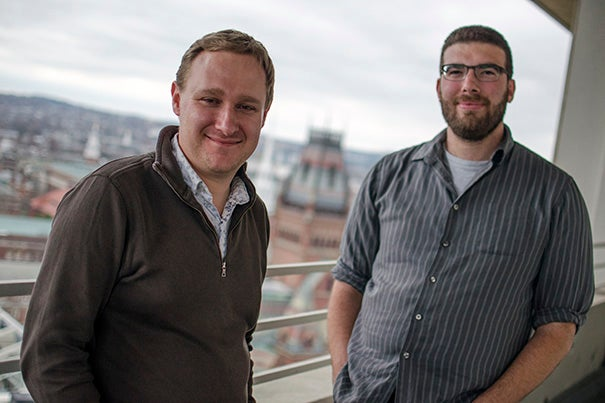 Associate Professor of Psychology Max Krasnow (left) and Graduate School of Education doctoral student Samuel Mehr are the co-authors of a new study that posits infant-directed song evolved as a way to calm fussy infants, and could potentially be the starting point of music in human culture.
