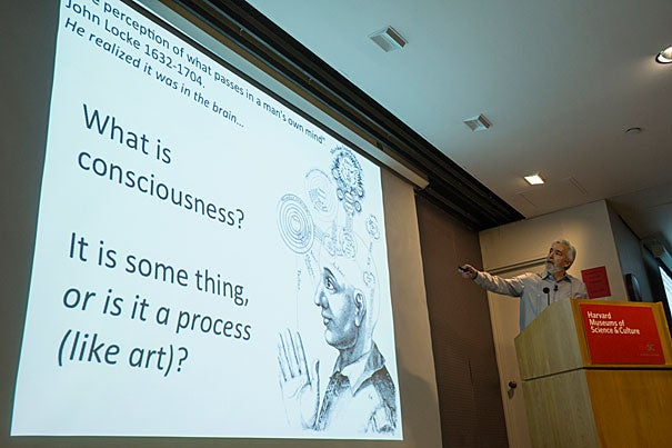 Biology Professor Brian D. Farrell delivers a talk about his multidisciplinary approach to studying consciousness, combining biological science with the teachings of ancient mysticism to better understand the development and meaning of consciousness.