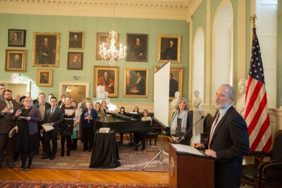 """You are essential to everything we do,"" said Edgerley Family Dean of the Faculty of Arts and Sciences Michael D. Smith, during his address. ""Our faculty and students are incredibly fortunate to have your ideas, your engagement, and your partnership."" Smith presented 61 awards during the University Hall fete."