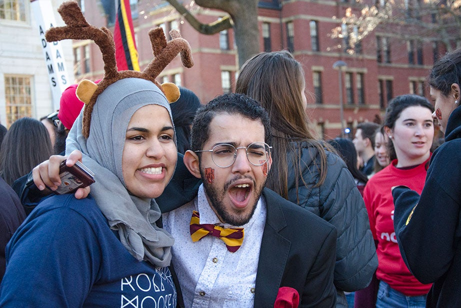 Azraa Chaudhury '18 (left), of Dunster House and Mohamed M. Aourir '17 of Adams pose for a picture in Harvard Yard. Photo by Silvia Mazzocchin