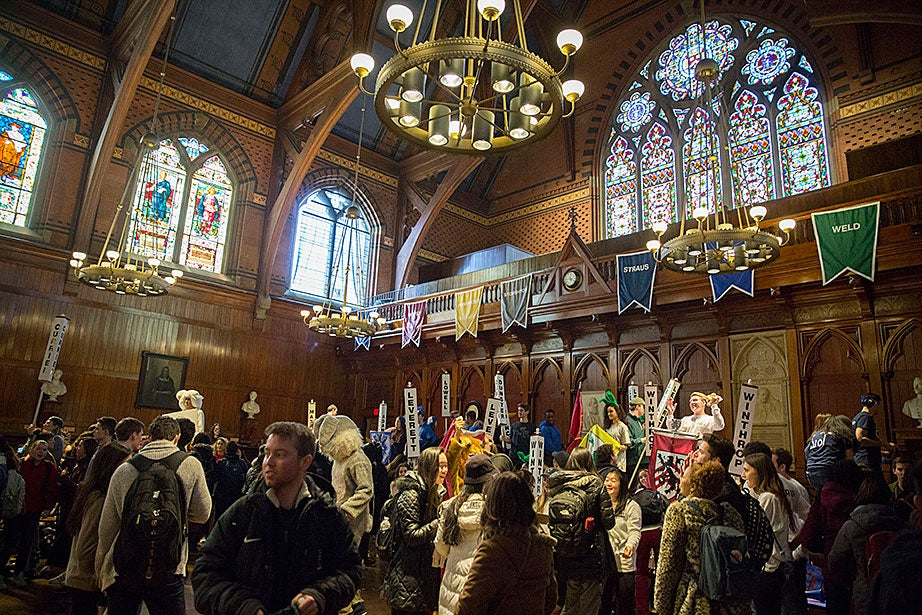 Students celebrate Housing Day inside Annenberg Hall. Kris Snibbe/Harvard Staff Photographer