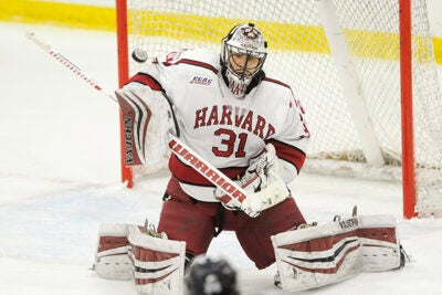 Goalie Merrick Madsen '18 was named MVP following Harvard's wins at Lake Placid, N.Y., this past weekend, where the team won the ECAC Tournament.