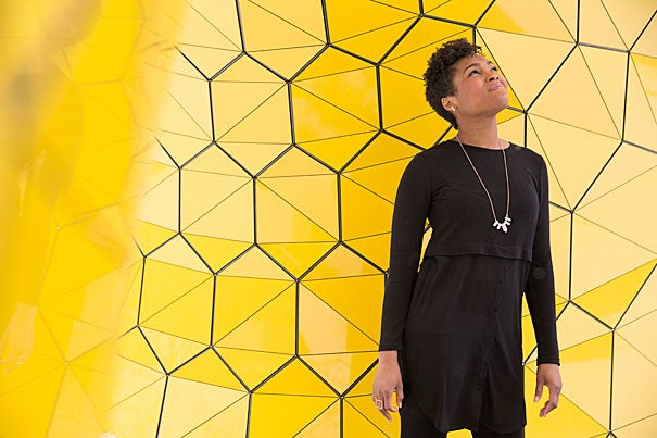 """Dana McKinney, M.Arch '17, M.U.P. '17, is an  outspoken advocate for social justice through design, and already at work for Frank Gehry, GSD '57, Ar.D. '00. As president and of GSD's African-American Student Union, McKinney organized the School's massively successful """"Black in Design"""" conference, as well as a surprise visit from rapper Kanye West."""