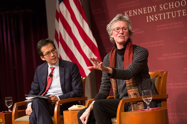 Noted UC-Berkeley sociologist Arlie Hochschild (right) and Kennedy School Academic Dean Archon Fung converse on her study of the issues underlying the anger felt by conservative whites and the paradoxical relationship between the truth and their perceptions.
