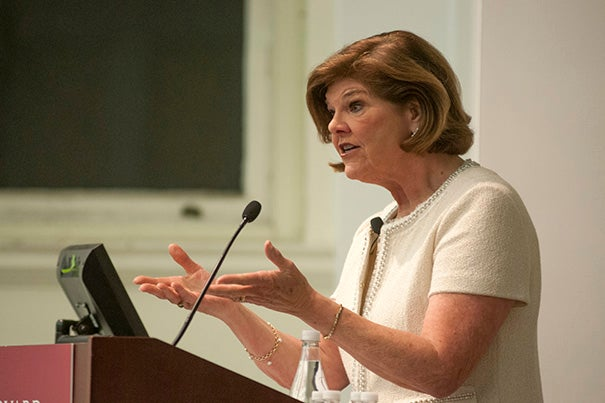 """In the media climate now, where fact and opinion are hopelessly intertwined, people gravitate to where they feel comfortable. And there's no question in my mind that this has deepened the partisan chasm in our country and has added to the dysfunction in Congress,"" said Ann Compton, former ABC News journalist and member of the White House Press Corps, at the Lowell Lecture."