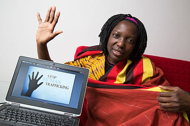 Kennedy School Mason Fellow Agnes Igoye, M.C./M.P.A .'17, brought her fight to end human trafficking from her native Uganda to the Kennedy School.