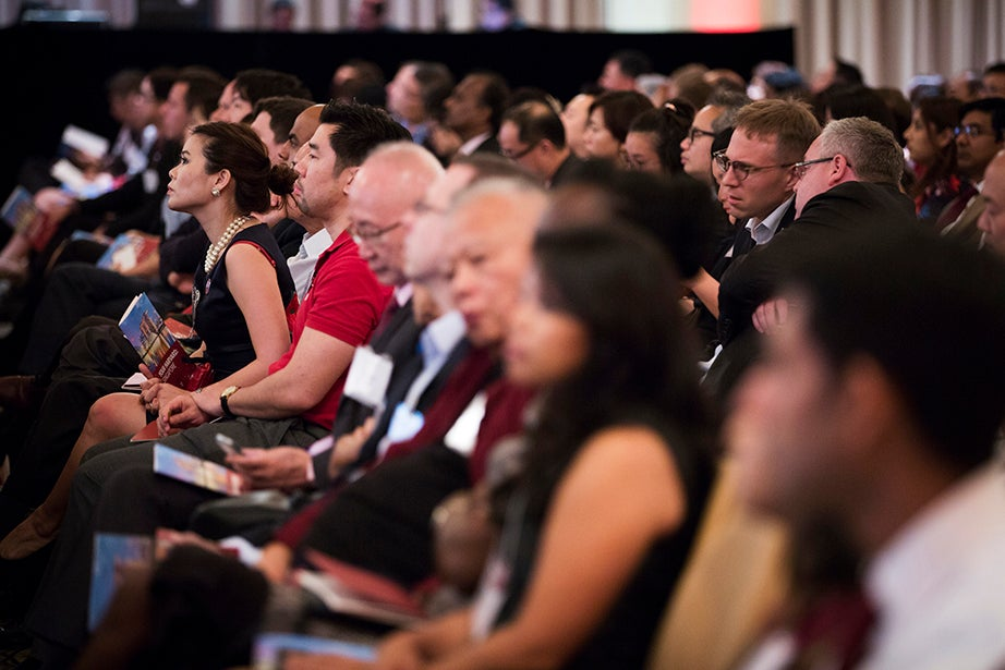 A crowd of approximately 400 alumni attend the Your Harvard Singapore event.