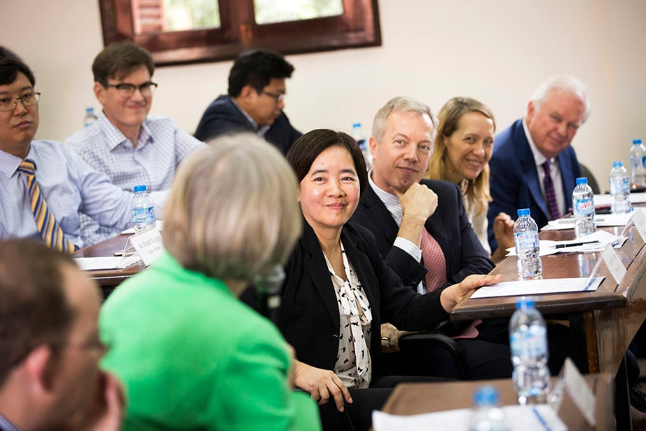 During a meeting of the Fulbright University Vietnam community in Ho Chi Minh City, Drew Faust (from left) speaks to President of FUV Dam Bich Thuy, Ambassador Ted Osius '84, Consul General Mary Tarnowka, and Harvard Ash Center Senior Adviser for Mainland Southeast Asia Tommy Vallely.