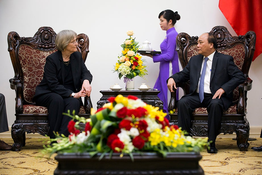 Drew Faust (left) visits Vietnam Prime Minister Nguyen Xuan Phuc in Hanoi where they discuss Harvard's role in the development of the Fulbright University of Vietnam.