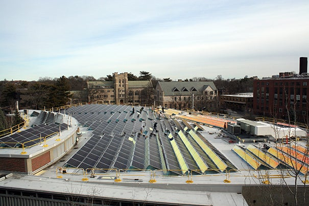 The roof of 38 Oxford St., home to the FAS Research Computing, is Harvard's second largest solar photovoltaic installation.