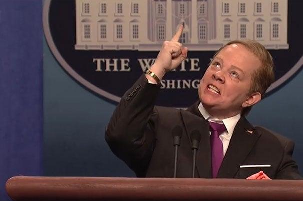 "Melissa McCarthy as White House press secretary Sean Spicer during a ""Saturday Night Live"" skit. Credit: ""Saturday Night Live"""