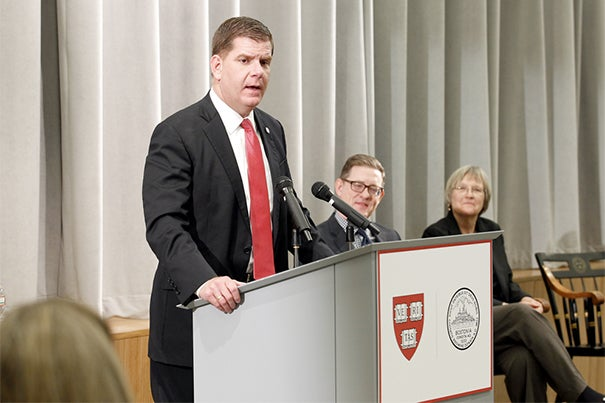 """The Harvard Allston Partnership Fund is a great example of a public-private partnership that is making a real difference in people's lives,"" said Boston Mayor Martin J. Walsh, who joined Harvard President Drew Faust (far right) and Paul Andrew, vice president of Harvard Public Affairs and Communications, to honor the grant recipients."
