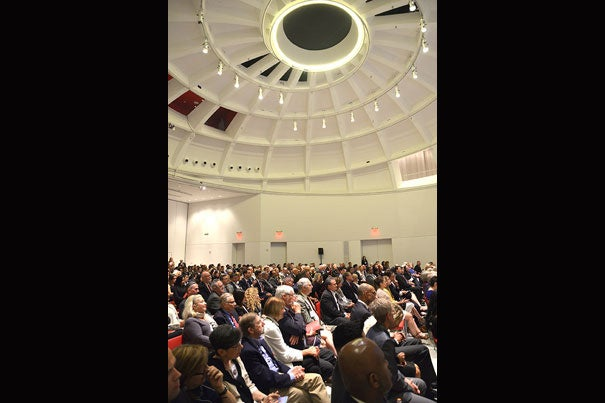 7456: Attendees at Your Harvard: Miami listen to remarks from President Drew Faust
