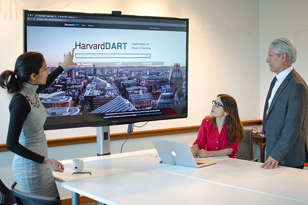 HarvardX courses will be more accessible through HarvardDART, which is being demonstrated by Shilpa Idnani (from left), HarvardX instructional development assistant; Selen Turkay, VPAL-Research Fellow; and Vittorio Bucchieri, HUIT senior user experience lead.