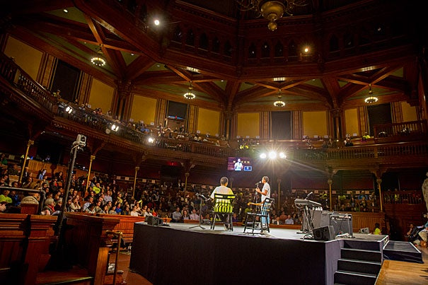 "Eden Girma '18 speaks to the attendees of ""A Celebration of Inclusion and Belonging"" at Sanders Theatre, a community-wide workshop with students and scholars. The event was the culmination of the initial ""listening phase"" by the Task Force on Inclusion and Belonging, created by Harvard President Drew Faust at the beginning of the academic year."