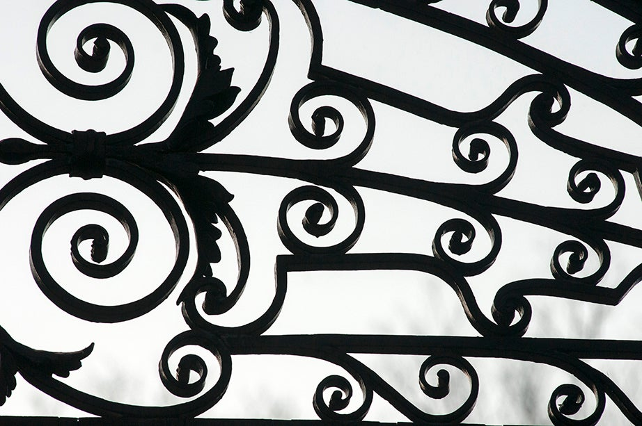 Johnston Gate, Northwest. Silhouetted against the sky, the gate's elegant decorations create the illusion of brushes of black tempera. The oldest gate in the Yard, Johnston serves as the main entrance, and leads directly to the John Harvard Statue. The wrought-iron gate was erected in 1889 when alumnus Samuel Johnston donated funds to replace the wooden fence that had stood on the spot.