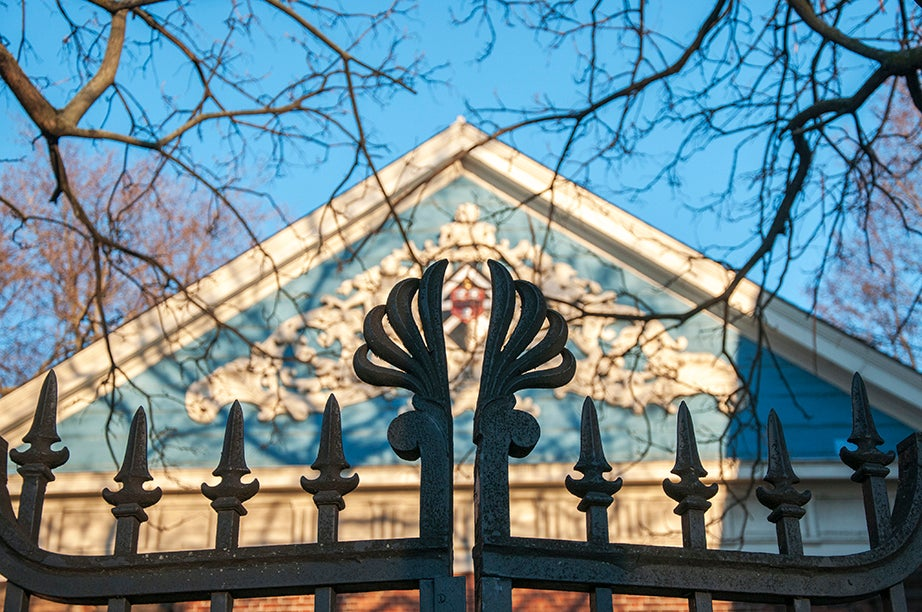 """The Class of 1870 Gate, Northwest. The gate's ornaments embrace the design of the back door of Holden Hall. The gate, always locked, keeps preserved and inaccessible the beauty of the """"secret garden"""" behind the hall."""