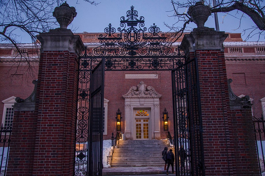 """The Class of 1885 Gate, East, frames the entrance to the Harvard Art Museums on Quincy Street. Its original name is now almost forgotten, and it is widely referred to as """"Sever Gate."""""""