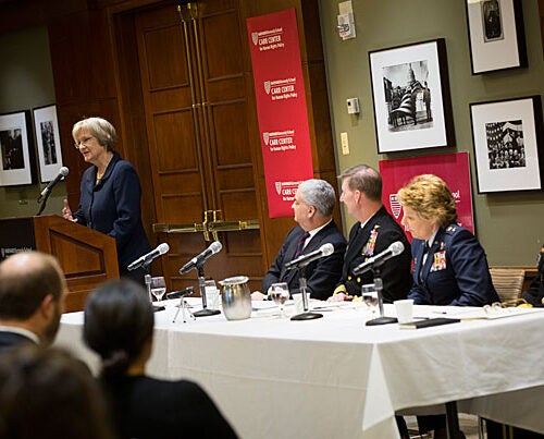 "Harvard President Drew Faust (from left) makes introductory remarks before moderator Hon. Alberto Mora leads a panel with military academy superintendents Vice Adm. Walter E. ""Ted"" Carter, Lt. Gen. Michelle D. Johnson, and Lt. Gen. Robert L. Caslen Jr. to discuss fundamental military values and the role of human rights in our national security strategy."