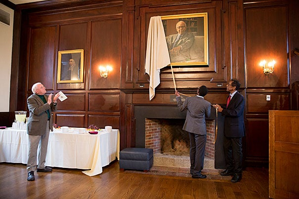 "At the unveiling of the portrait of Orlando Patterson, Harvard Foundation Director S. Allen Counter noted that Patterson has been a Harvard professor for the past 47 years. Mandela Patrick '18 called him an inspiration: ""Your success has given me confidence and belief that I too, as someone from the Caribbean, can make my mark on this world."""