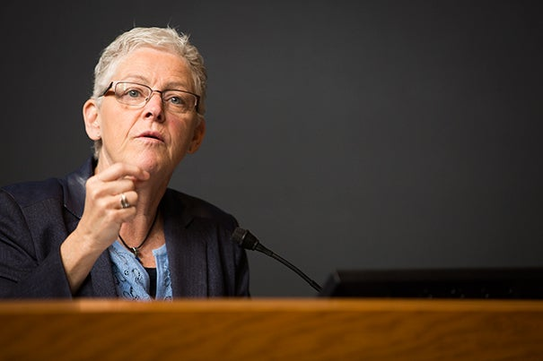 "Former EPA Administrator Gina McCarthy delivered the keynote address at the Climate Week symposium ""Human Health in a Changing Climate,"" in which she joined a growing chorus of academics, scientists, and public servants urging scientists to raise their voices on climate change."