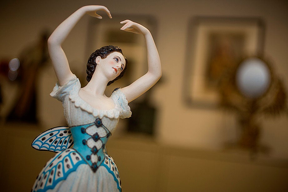 "Figurine by Jean-Auguste Barré of the young French ballerina Emma Livry (1842-1863) in ""Le Papillon"" (""The Butterfly""), 1861. Livry, one of the great dancers of the Romantic ballet, trained at the Paris Opéra with Marie Taglioni, who saw in her the ethereal lightness for which she herself was famous."