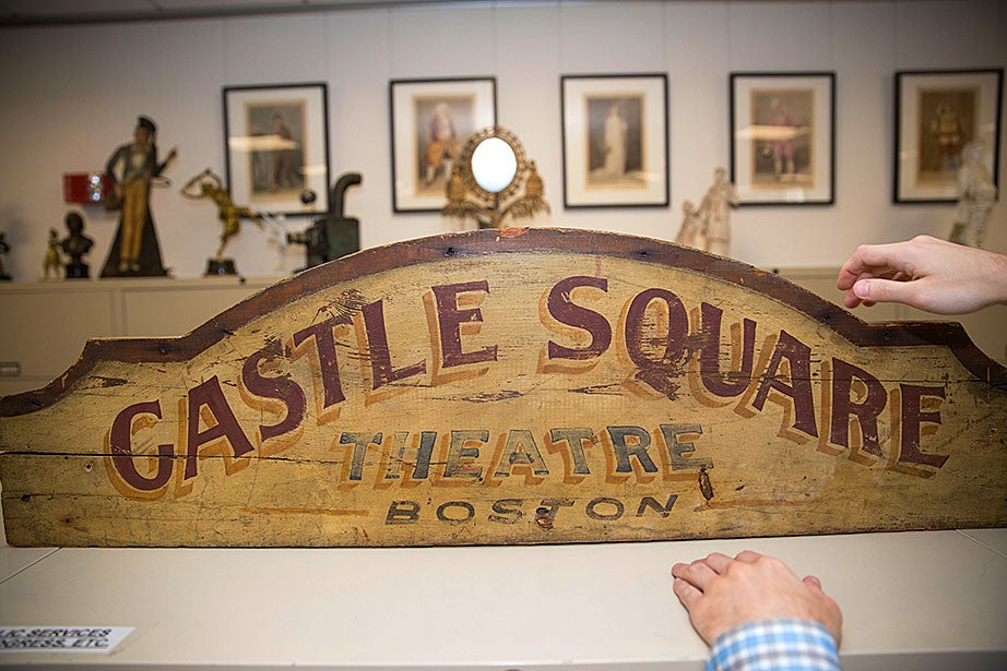 The sign of the Castle Square Garden Theatre, a small but elegant playhouse that opened in Boston's South End in 1894 and was converted into a movie theater before being demolished in 1933.