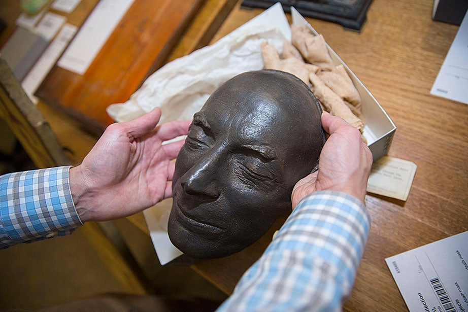 Bronze death mask of American playwrights Clifford Odets, 1963. Donated to the Harvard Theatre Collection by the French filmmaker Jean Renoir.