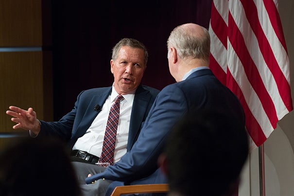In a visit to Harvard Kennedy School, Ohio Gov. John Kasich sat down with Center for Public Leadership co-director David Gergen to discuss current issues from tax reform to political decorum.