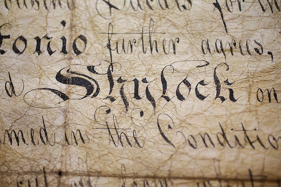 "Shylock's bond used by actor Edmund Kean (1787-1833) in Shakespeare's ""Merchant of Venice."""