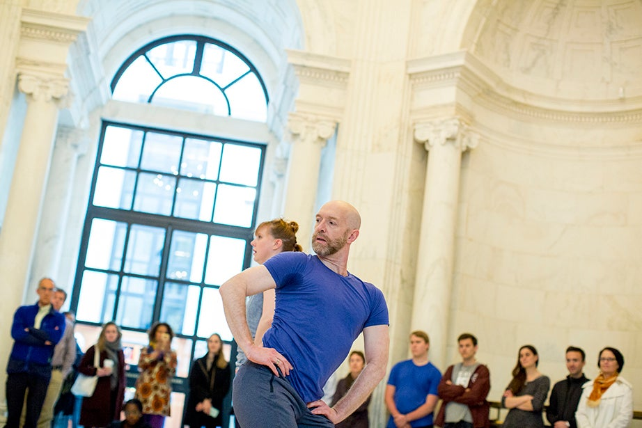 Jill Johnson is a senior lecturer in Theater, Dance & Music and the Department of Music and director of the Office for the Arts Dance Program. Christopher Roman, artistic director of the Dance On Ensemble, is a visiting artist at Harvard this week. Rose Lincoln/Harvard Staff Photographer