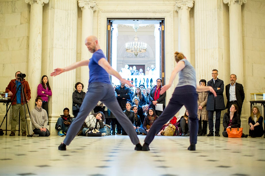 Students, staff, and visitors watched as the usually dance-less room came to life. Rose Lincoln/Harvard Staff Photographer