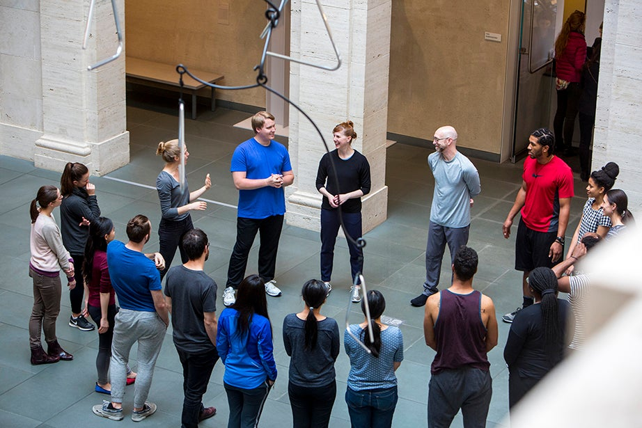 Jill Johnson and Christopher Roman explain the mostly upper-body movements of their routine. Rose Lincoln/Harvard Staff Photographer