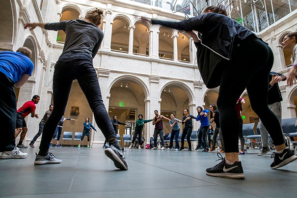 The Harvard University Committee on the Arts presented Movement Lab, an open house master class taught by dancers, Christopher Roman and Jill Johnson at Harvard Art Museums' Calderwood Courtyard.