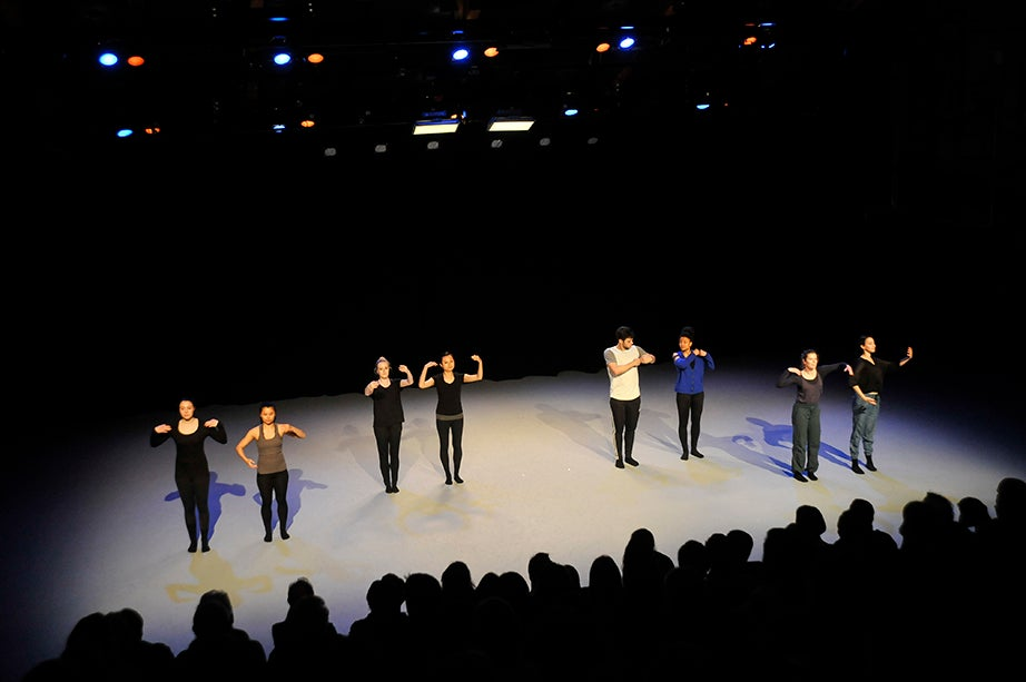 "Members of the Harvard Dance Project perform following ""Catalogue (First Edition)."" A faculty-led performance company, the Harvard Dance Project gives students a chance to be original cast members and collaborators in two or more diverse works created by pre-eminent professional choreographers. Jon Chase/Harvard Staff Photographer"