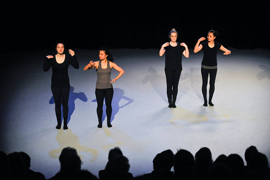 Members of the Harvard Dance Project perform. Harvard's Dance Program regularly hosts guest artists and choreographers who teach master classes and hold residencies throughout the academic year, fostering exceptional opportunities for students to work with innovators in the field. Jon Chase/Harvard Staff Photographer