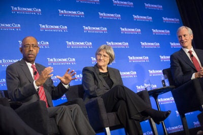 At the 2017 Higher Education Panel in Washington, D.C., Ohio State University President Michael Drake (from left), Harvard President Drew Faust, and Stanford University President Marc Tessier-Lavigne emphasized the need for federal funding to keep the nation at the forefront of scientific achievement.