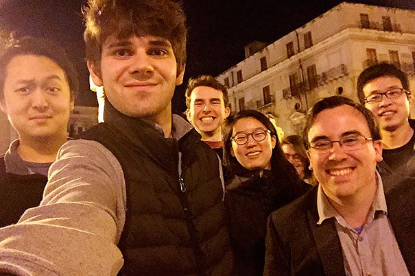 Matthew DeShaw '18 (second from left) takes a selfie with a few members of his Classical Studies 112 class in the early morning near the volcanically active Mount Etna.