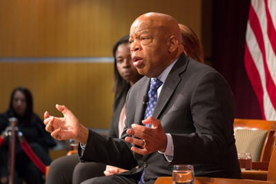 """""""Do your best to look out for all humankind,"""" said Congressman and civil rights leader John Lewis in accepting his Gleitsman Award at the Harvard Kennedy School. """"Never become bitter; never ever give up. You'll get knocked down but get up ... You have to pace yourself for the long haul."""""""