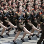 North Korean women soldiers march across Kim Il Sung Square during a military parade in celebration of Kim il Sung's 105th birthday. Gary Samore, A.M. '78, Ph.D. '84, executive director for research at the Belfer Center, sees little substantial change in the decades-long stalemate with North Korea, but with economic sanctions imposed even by China, a longtime ally, the hermit nation may be running out of options to sustain its nuclear ambitions.