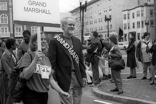 Ten years after founding the annual festival, John Lithgow '67, Art.D. '05, acts as the grand marshall of the Arts First parade in 2002. Lithgow will receive the Harvard Arts Medal in a ceremony that will kick off the 25th Arts First festival.
