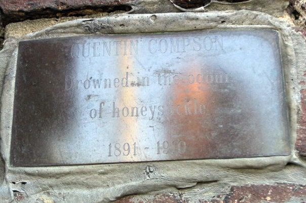 For more than 50 years, the Harvard community has helped to preserve a plaque on the Anderson Memorial Bridge memorializing Quentin Compson, the tragic hero of some of William Faulkner's most influential fiction.