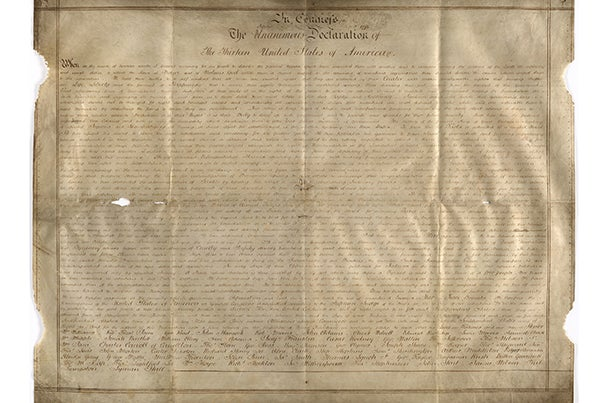 """The parchment the Declaration in Congress of the thirteen United States of America (pictured) was written on caught Emily Sneff's attention. Sneff, a researcher with the Declaration Resources Project, also found names weren't in the right order and """"it's in a handwriting I hadn't seen before."""""""