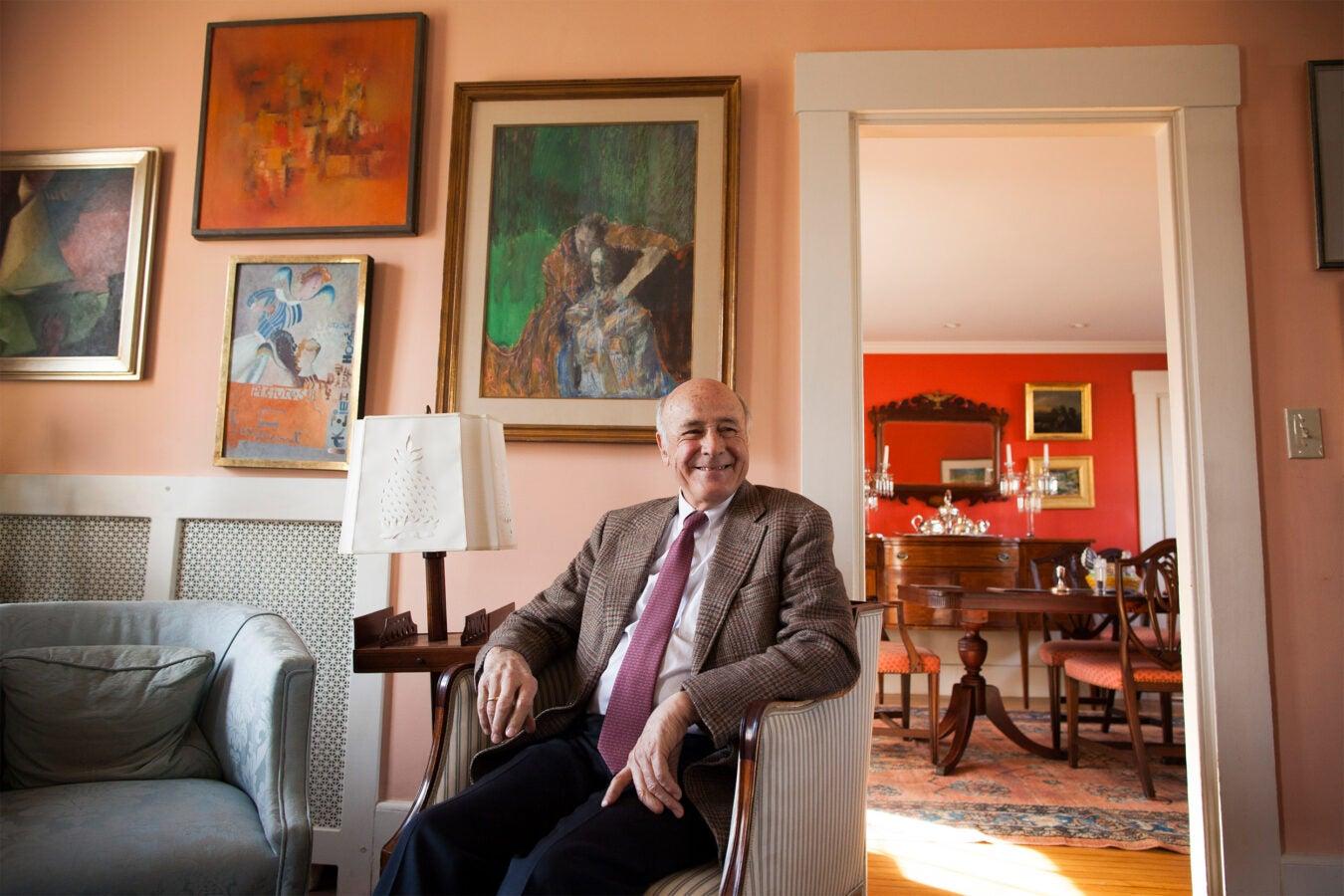 Joseph Nye in his living room.