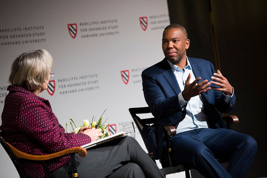 """Author and journalist Ta-Nehisi Coates is the keynote speaker at """"Universities and Slavery: Bound by History,"""" a daylong conference sponsored by President Faust and hosted by the Radcliffe Institute for Advanced Study. The conference, which took place in March 2017, was part of the University's ongoing efforts to investigate and understand its historical connections to slavery. Stephanie Mitchell/Harvard Staff Photographer"""