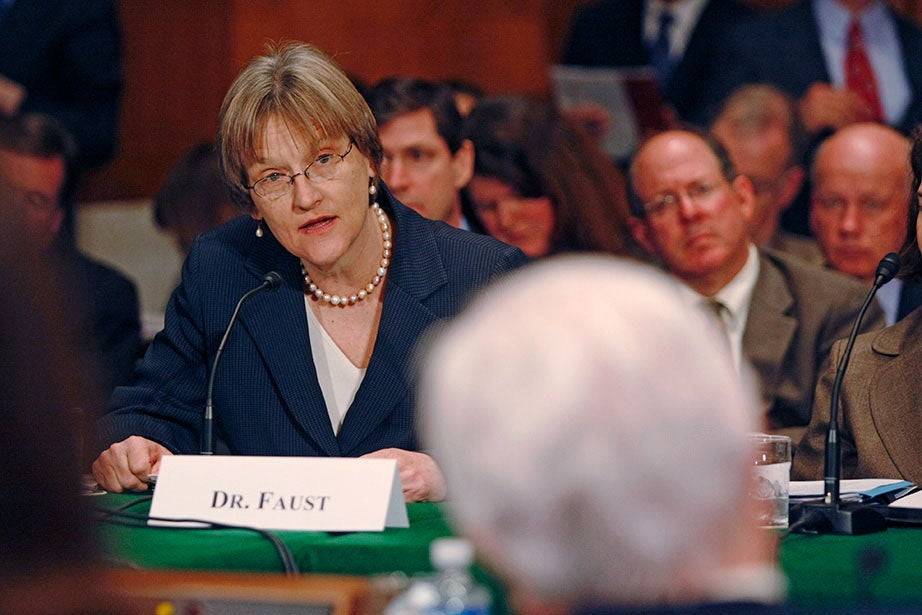 """Calling on Congress to repair the """"broken pipeline"""" through which breakthroughs in the biomedical sciences should flow, President Faust testifies before members of the Senate Committee on Health, Education, Labor and Pensions, including Sen. Edward M. Kennedy (foreground), in March 2008. Faust has been a strong advocate for policies and funding that support science and research, arts and humanities, and immigration legislation like the DREAM Act. Jon Chase/Harvard Staff Photographer"""