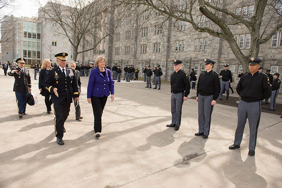Giving the Zengerle Family Lecture at the U.S. Military Academy at West Point in March 2016, President Faust speaks about the role of the humanities and a broad liberal arts education in nurturing and honing language and leadership skills. Faust also gave remarks at Trinity College Dublin in 2010 about the role of universities in a globalizing world and the enduring value of the liberal arts. Photo by John Pellino